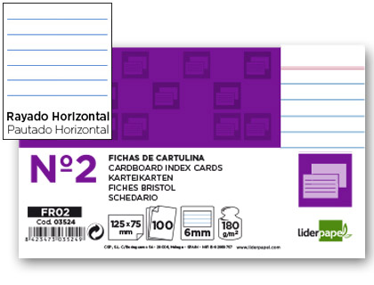 100 fichas Liderpapel rayadas nº2 75 x 125mm.