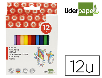 12 lápices cera Liderpapel triangulares