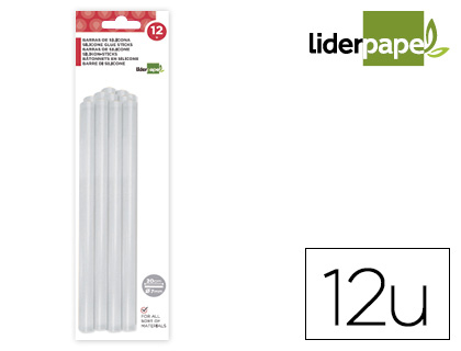 12 barras termofusibles Liderpapel silicona ø7x200mm.