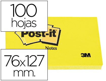 Bloc de 100 notas adhesivas Post-it 655 76x127mm. amarillas
