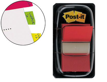 50 banderitas señalizadoras Post-it 680-1 25,4x43,1mm. rojas