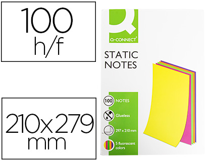 Bloc 100 notas magneticas quita y pon Q-Connect 210x297mm. 5 colores fluorescentes