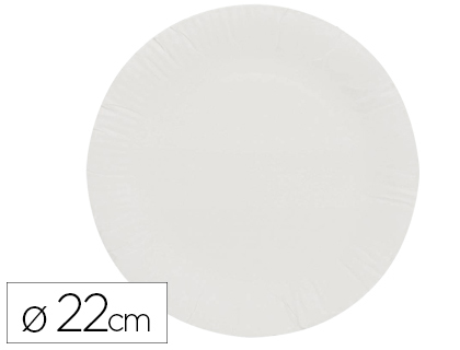 100 platos papel reciclable blanco ø22cm.