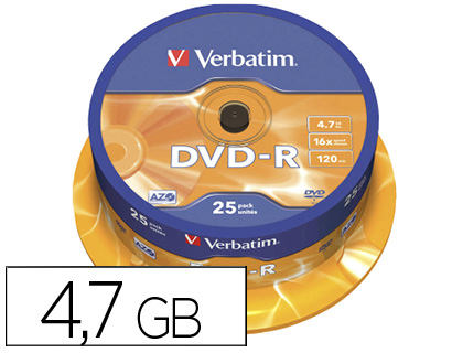 25 DVD-R Verbatim 4.7GB 16x 120 minutos