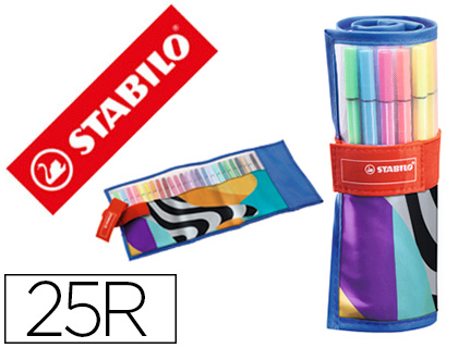 25 rotuladores Stabilo acuarelables Pen 68 just like you estuche rollerset de 25 unidades colores surtidos