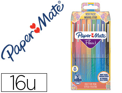 16 rotuladores Ppaper Mate Flair colores surtidos