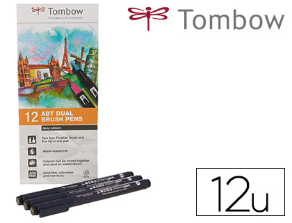 12 rotuladores Tombow acuarelables doble punta pincel