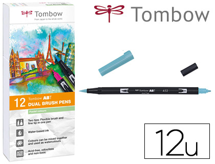 12 rotuladores Tombow acuarelables doble punta pincel colores pastel