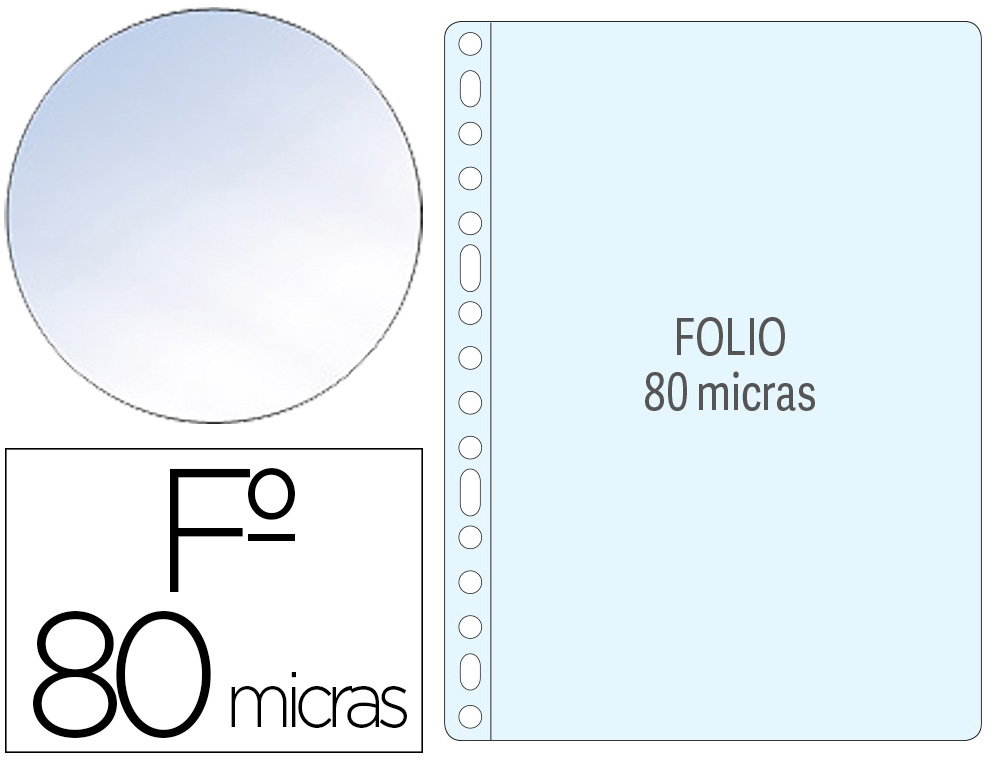 1400 fundas multitaladro Q-Connect Folio polipropileno 80µ