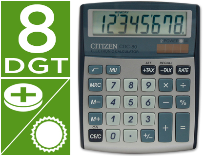 Calculadora Citizen CDC-80 sobremesa plata