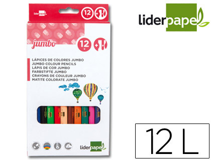 12 lápices de colores Liderpapel Jumbo triangulares con sacapuntas