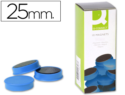 10 imanes Q-Connect para pizarra ø25mm. azul