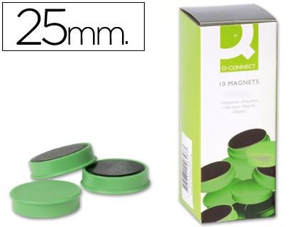 10 imanes Q-Connect para pizarra ø25mm. verde