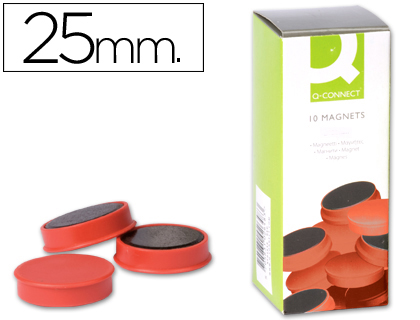10 imanes Q-Connect para pizarra ø25mm. rojo