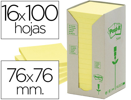 16 bloc de notas adhesivas quita y pon Post-it 76x76mm. recicladas color amarillo