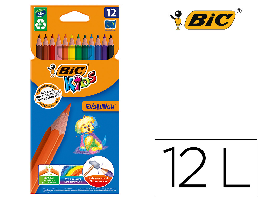 12 lápices de colores Bic Kid Evolution