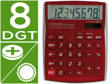 Calculadora Citizen CDC-80 sobremesa burdeos