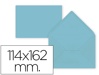 15 sobres Liderpapel 114x162mm. offset 80g/m² color celeste