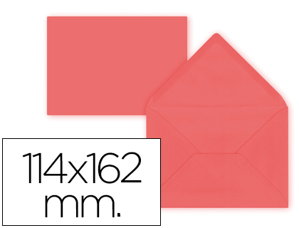 15 sobres Liderpapel 114x162mm. offset 80g/m² color rojo