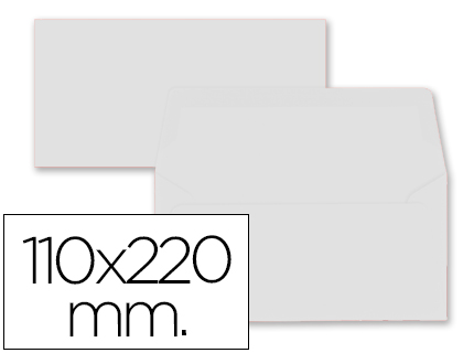 9 sobres Liderpapel 110x220mm. offset 80g/m² color blanco