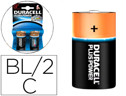 2 pilas alcalinas Duracell Ultra Power tipo C  LR14