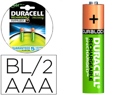 2 pilas recargables Duracell staycharged AAA LR03 1,5V 850mAh