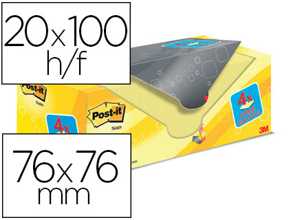 24 blocs de 100 notas adhesivas Post-it Super Sticky 76x76mm. amarillo