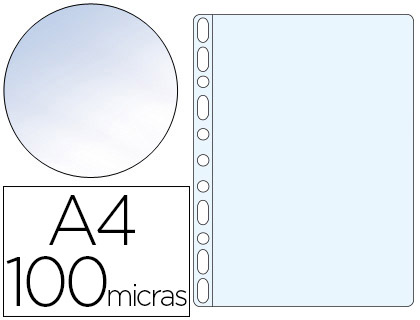 100 fundas multitaladro Q-Connect A4 polipropileno 100µ cristal