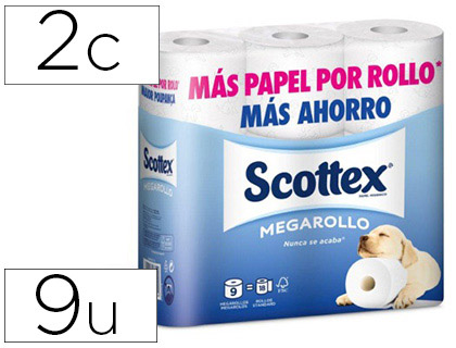 9 rollos papel higiénico Scottex doble largo 2 capas