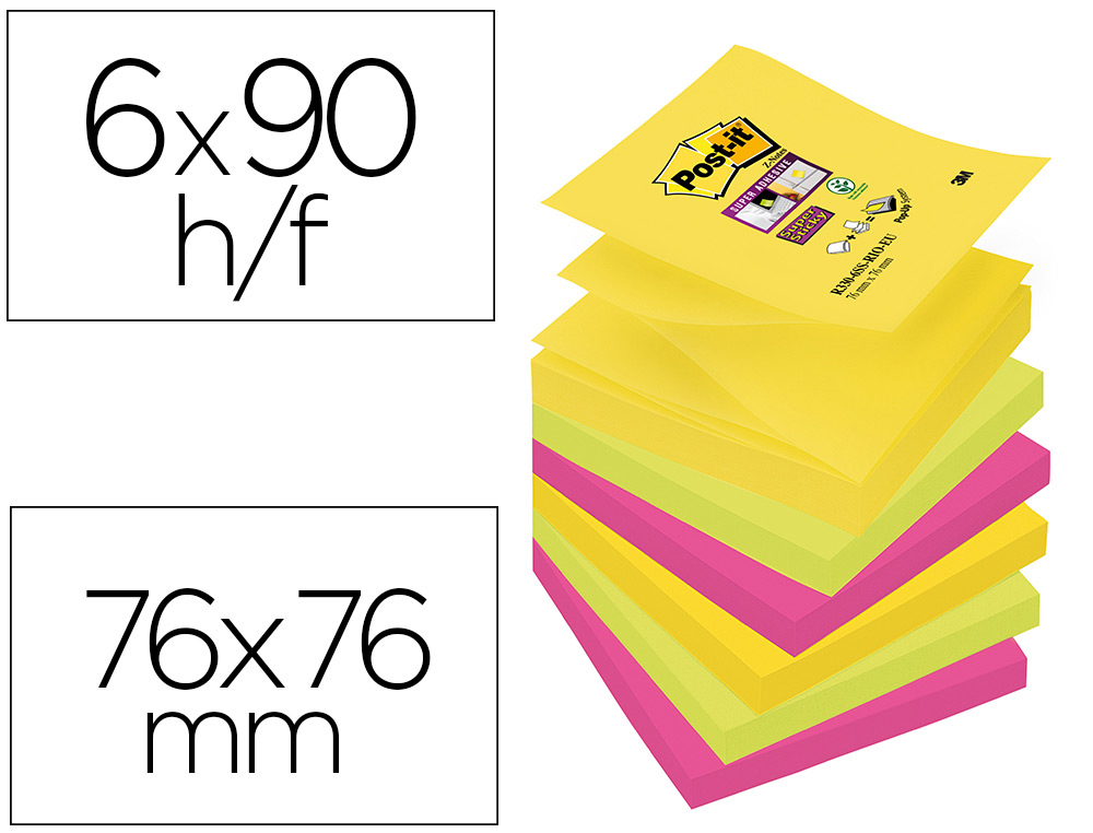 6 blocs de 90 z-notas adhesivas quita y pon Post-it Super Sticky zig-zag 76x76mm. colores surtidos