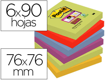 6 blocs de 90 de notas adhesivas quita y pon Post-it Super Sticky 76x76mm. colores surtidos