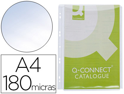 5 fundas multitaladro Q-Connect A4 PVC 180µ con fuelle