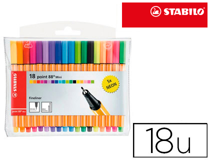 18 rotuladores Stabilo Point 88 mini colores surtidos, 5 neón