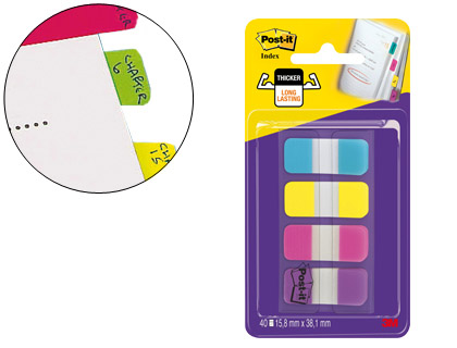 4x10 banderitas señalizadoras rigidas Post-it Index 15,8x38,1mm. amarillo azul rosa y violeta