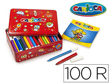 100 rotuladores Carioca color kit caja metálica + Álbum colorear