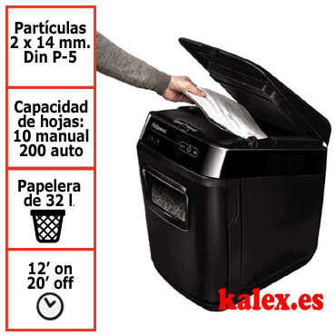 Destructora automática Fellowes Automax 200M con microcorte