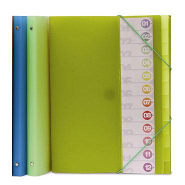 Carpeta clasificadora Folio azul 12pos Grafoplás