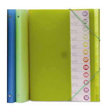 Carpeta clasificadora Folio verde 12pos Grafoplás