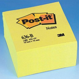 Cubo 450 notas Post-it amarillas 76 x 76 mm. A29379