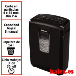 Destructora papel Fellowes 8CD negra uso moderado &4692101