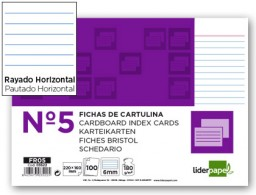 100 fichas Liderpapel rayadas nº5 160x220mm.