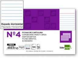 100 fichas Liderpapel rayadas nº4 125x200mm.
