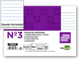 100 fichas Liderpapel rayadas nº3 100x150mm.