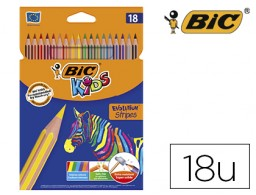 18 lápices de colores Bic Evolution Stripes