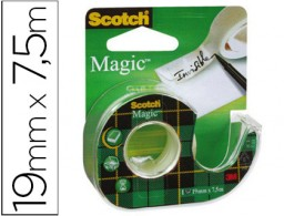 Miniportarrollos Scotch con cinta adhesiva invisible 7,5m.x19 mm.