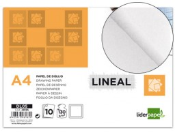 papel dibujo Liderpapel lineal 210x297mm 130g/m² con recuadro pack de 10