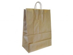 Bolsa Q-Connect kraft asa retorcida natural 240x100x310 mm.