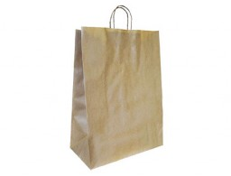 Bolsa Q-Connect kraft asa retorcida reciclado 270x120x360 mm.