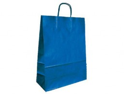 Bolsa Q-Connect kraft asa retorcida azul 240x100x310 mm.
