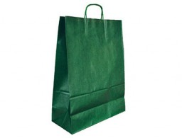Bolsa Q-Connect kraft asa retorcida verde 240x100x310 mm.